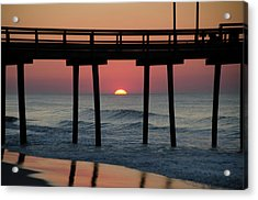 Sunrise Through The 32nd Street Pier Avalon New Jersey Acrylic Print by Bill Cannon