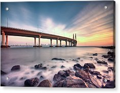 Sunset - Sea Link Acrylic Print by Brendon Fernandes