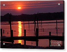 Sunset At Colonial Beach Acrylic Print by Clayton Bruster