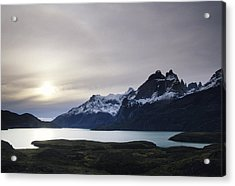 Sunset At Lago Pehoe  In The Cuenos Del Acrylic Print by Bill Hatcher