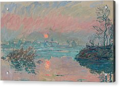 Sunset At Lavacourt Acrylic Print by Claude Monet