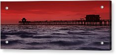 Sunset At Naples Pier Acrylic Print by Melanie Viola