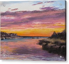 Sunset At Sesuit Harbor Acrylic Print by Jack Skinner