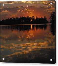 Sunset Behind The Trees On A Lake Acrylic Print by Gillham Studios