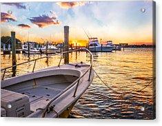 Sunset Harbor Acrylic Print by Debra and Dave Vanderlaan