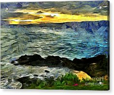 Sunset In The Cove Acrylic Print by Krissy Katsimbras
