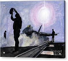 Sunset On The Flight Deck Acrylic Print by Sarah Howland-Ludwig
