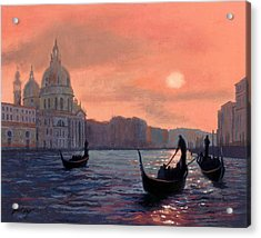 Sunset On The Grand Canal In Venice Acrylic Print by Janet King