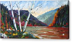 Sunset On The Lake Acrylic Print by Richard T Pranke