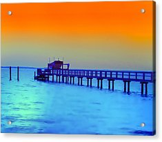 Sunset On The Pier Acrylic Print by Bill Cannon