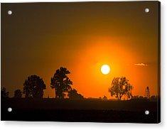 Sunset Over Farmland Acrylic Print by Andrea Kappler