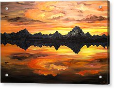 Sunset Over Jackson Lake And The Grand Tetons Acrylic Print by Connie Tom
