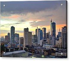 Sunset Over  Makati City, Manila Acrylic Print by Neil Howard
