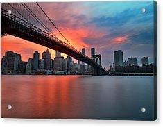 Sunset Over Manhattan Acrylic Print by Larry Marshall