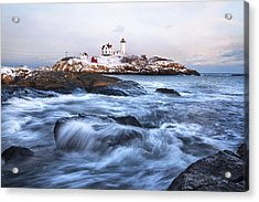 Sunset Over Nubble Light Acrylic Print by Eric Gendron