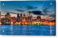 Sunset Over Philadelphia Acrylic Print by Louis Dallara