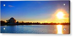 Sunset Over The Jefferson Memorial  Acrylic Print by Olivier Le Queinec
