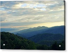 Sunset Over The Smokey's Acrylic Print by Laurie Perry