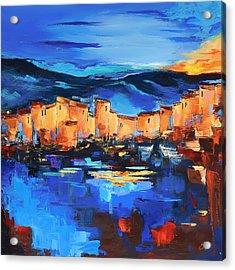 Sunset Over The Village 2 By Elise Palmigiani Acrylic Print by Elise Palmigiani