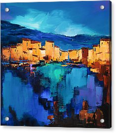 Sunset Over The Village 3 By Elise Palmigiani Acrylic Print by Elise Palmigiani