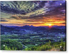 Sunset Over Wears Valley Tennessee Mountain Art Acrylic Print by Reid Callaway