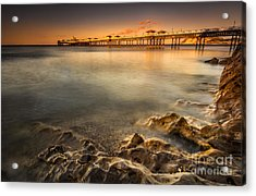Sunset Pier Acrylic Print by Adrian Evans