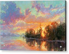 Sunset Reflections Acrylic Print by Becky Joy