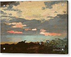 Sunset, Saco Bay Acrylic Print by Winslow Homer