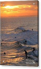 Sunset Surfers Huntington Beach Acrylic Print by Linda Queally