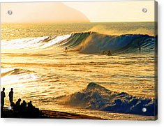 Sunset Surfers Acrylic Print by Kevin Smith