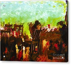Sunset Terrace Intimacy Acrylic Print by Marilyn Sholin
