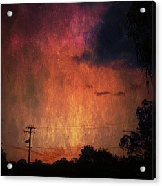 Sunset With Telegraph Pole Acrylic Print by AlyZen Moonshadow