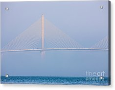 Sunshine Skyway Bridge In Fog I Acrylic Print by Clarence Holmes