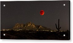 Super Bloodmoon Over The Superstition Mountains Acrylic Print by Chuck Brown