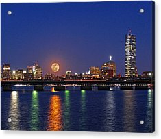 New England Acrylic Print featuring the photograph Super Moon Over Boston by Juergen Roth