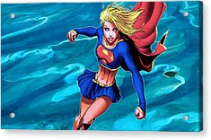 Supergirl Flying Above The Ocean Acrylic Print by Jeremy Tisler