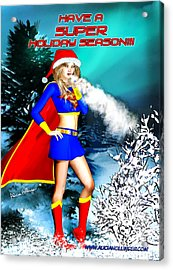 Supergirl Holiday Greeting Card Acrylic Print by Alicia Hollinger