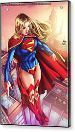Supergirl Hovering Above The City Acrylic Print by Jeremy Tisler