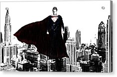 Superman In Manhattan Comic Charcoal Acrylic Print by Dan Sproul