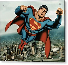 Superman Acrylic Print by Van Cordle