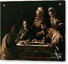 Supper At Emmaus Acrylic Print by Michelangelo Merisi da Caravaggio