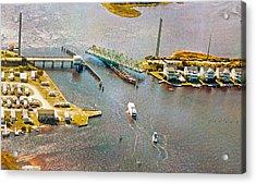 Surf City Swing Bridge Acrylic Print by Betsy Knapp