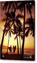 Surfer Couple Acrylic Print by Dana Edmunds - Printscapes