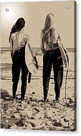 Surfer Girls Acrylic Print by Brad Scott