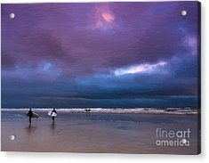 Surfers Acrylic Print by Andrew Michael