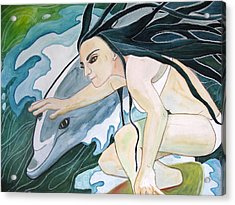 Surfers Acrylic Print by Kimberly Kirk