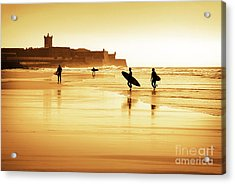 Surfers Silhouettes Acrylic Print by Carlos Caetano