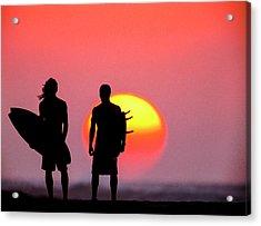 Surfers Sunset Acrylic Print by Sean Davey