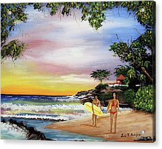 Surfing In Rincon Acrylic Print by Luis F Rodriguez