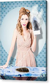 Surprised Housewife With Burnt Out Ironing Board Acrylic Print by Jorgo Photography - Wall Art Gallery